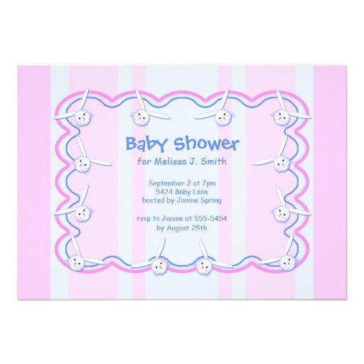 Little Bunny Heads Baby Shower Custom Invitations