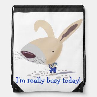 Little Bunny In Blue Custom Drawstring Backpack