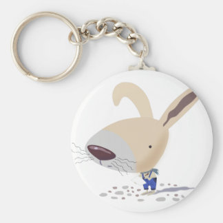Little Bunny In Blue Pants Button Keychain