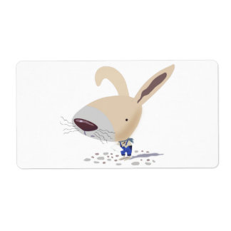 Little Bunny In Blue Pants Is Writing Labels