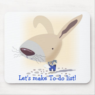 Little Bunny In Blue Pants Is Writing Mousepad