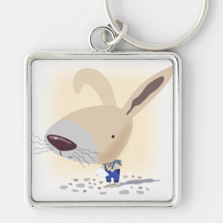Little Bunny In Blue Pants Square Keychain