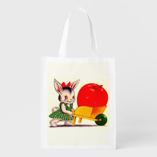 little bunny pushing cart with great big apple reusable grocery bag