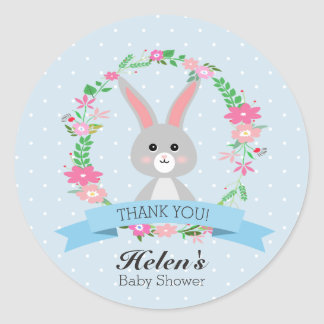 Little Bunny with florals wreath Baby Shower Round Classic Round Sticker