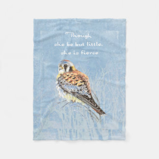 Little but Fierce Inspirational Quote Kestrel Bird Fleece Blanket