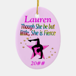 LITTLE BUT FIERCE PERSONALIZED GYMNAST ORNAMENT