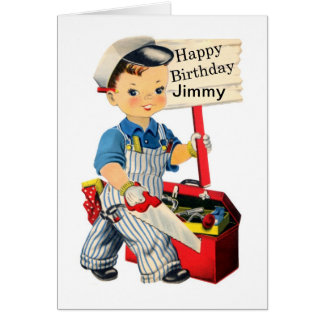 Little Carpenter Birthday card Personalize name