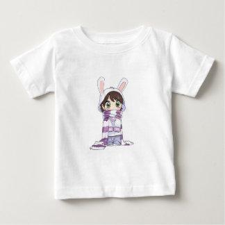 Little Cartoon Girl in Bunny Hood and Scarf Baby T-Shirt