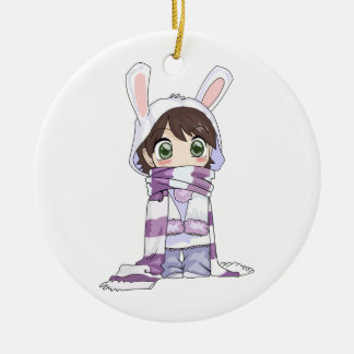 Little Cartoon Girl in Bunny Hood and Scarf Round Ceramic Decoration