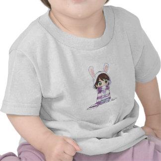 Little Cartoon Girl in Bunny Hood and Scarf Shirt