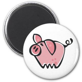 Little cartoon Pink Piggie 6 Cm Round Magnet