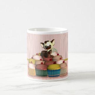little cat angel on fairy cake, cupcake basic white mug