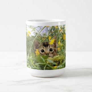 Little cat in the grass basic white mug