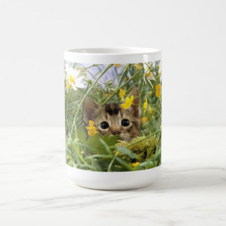 Little cat in the grass classic white coffee mug