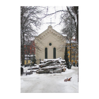 Little Chapel in the Snow (Vertical) Canvas Prints