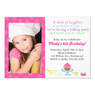 Little Chef's Baking Party Photo Invitation