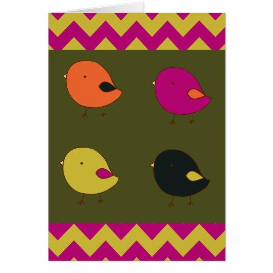 Little chicks chevrons birthday card