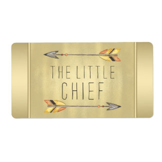 Little Chief Tribal Arrow Baby Shower Water Bottle Shipping Label