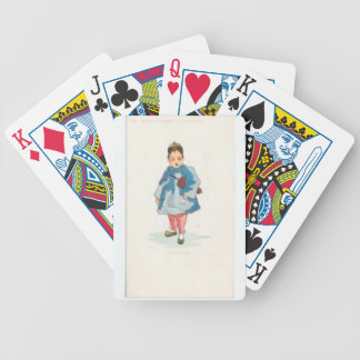 Little Chinese Girl Holding Umbrella Bicycle Playing Cards