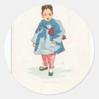 Little Chinese Girl Holding Umbrella Classic Round Sticker