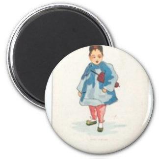 Little Chinese Girl Holding Umbrella Magnet