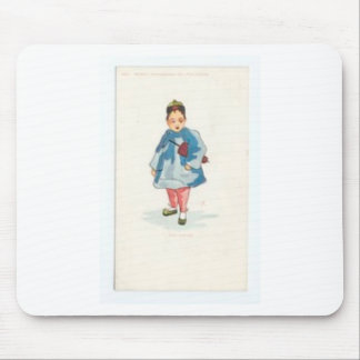 Little Chinese Girl Holding Umbrella Mouse Pad