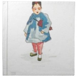 Little Chinese Girl Holding Umbrella Napkin