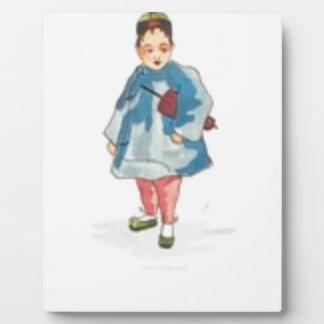 Little Chinese Girl Holding Umbrella Plaque
