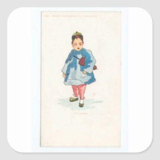 Little Chinese Girl Holding Umbrella Square Sticker
