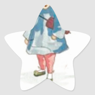Little Chinese Girl Holding Umbrella Star Sticker