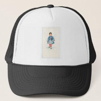 Little Chinese Girl Holding Umbrella Trucker Hat