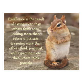 Little Chipmunk Excellence Quote Postcard