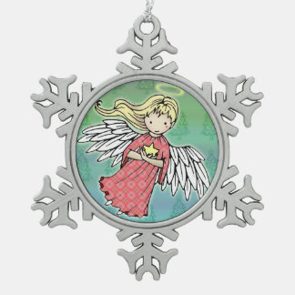 Little Christmas Angel and Star Pewter Snowflake Decoration