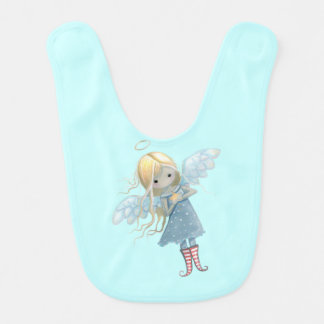 Little Christmas Angel Holding Star Baby Bib