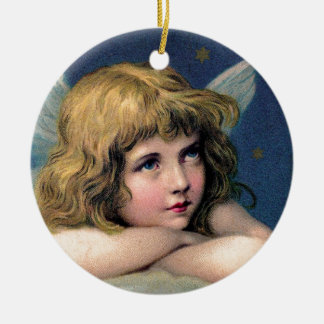 Little christmas fishing rod ceramic ornament