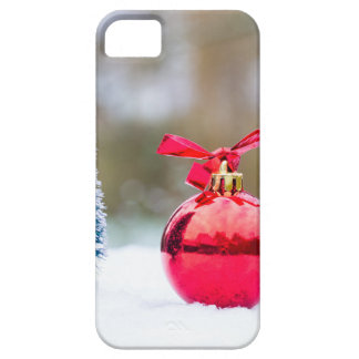 Little christmas tree and red bauble in snow iPhone 5 cases