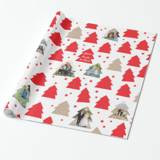 Little Christmas Trees Custom Photo Gift Wrap