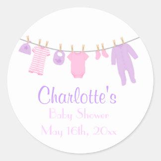 Little Clothes Pink & Purple Baby Shower Stickers Round Sticker