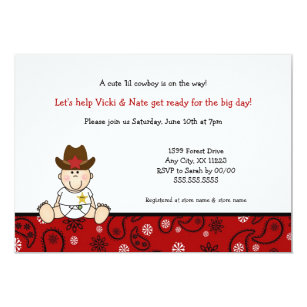cowboy baby shower cards invitations zazzle com au