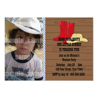 "Little Cowboy Birthday Party 5"" X 7"" Invitation Card"