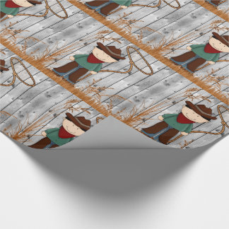 Little Cowboy Buckaroo with Lasso and Barn Wood Wrapping Paper
