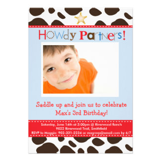 Little Cowboy Party Invitation Cards