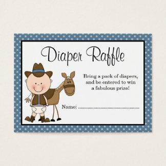 Little Cowboy Polka Dots Baby Shower Diaper Raffle Business Card