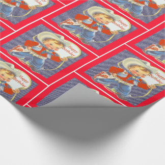 Little Cowboy With Rope Happy Birthday 1 Wrapping Paper