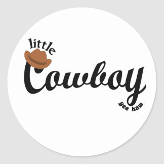 little cowboy yeehaw round sticker