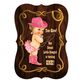 Little Cowgirl 1st Birthday Card