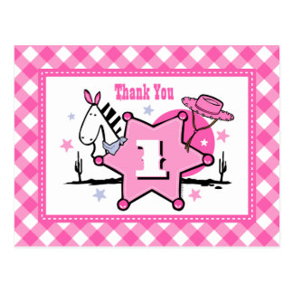 Little Cowgirl 1st Birthday Thank You Postcard