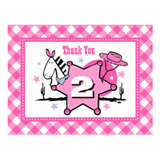 Little Cowgirl 2nd Birthday Thank You Postcard