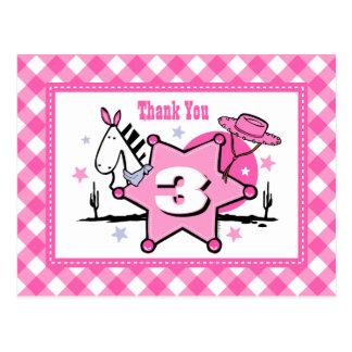 Little Cowgirl 3rd Birthday Thank You Postcard