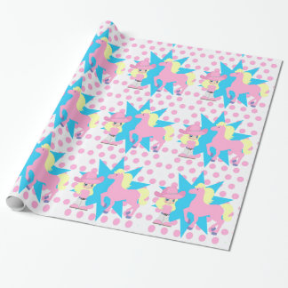 Little Cowgirl Blonde with  Pink Horse Any Occassi Wrapping Paper